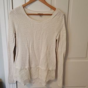 Lucky brand long sleeve white sweater with lace